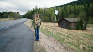 Anna-Klara Bankel på plats i Ådalen.