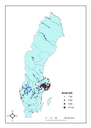 På den här kartan kan du se var i Sverige som TBE-fallen smittades under 2016, och därmed utgör riskområden.