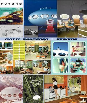 Rymdåldern är här. Ska vi ta en tripp till någon annan planet? I denna reklambroschyr från sjuttiotalets början presenteras Futuro- och Venturohusen som framtidens hus, lättplacerade och futuristiska. BILD: MATTI SUURONEN DESIGNS