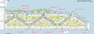 Den nya etappen kommer att innehålla ett antal torg, en förskola samt en öppningsbar gång- och cykelbro.