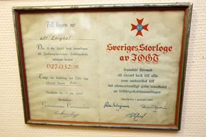 1945 bidrog IOGT:s Nyhammarsavdelning med 400 kronor till Godtemplarorderns folkhögskoleinsamling och fick då det här diplomet som tack från centralt håll.