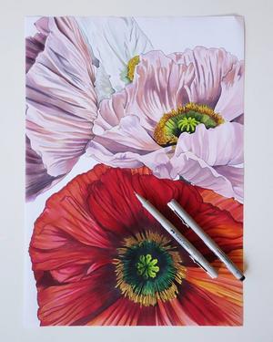 Josefine Gunhamre arbetar som illustratör. Den här vackra tavlan med blommor har hon gjort.