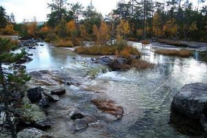 Det är ett vackert sceneri som naturen bjuder på på badplatsen i Forsa.