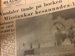 Misstankarna om att bocken skulle eldas upp besannades. Här i Gefle Dagblad från den 2 januari.