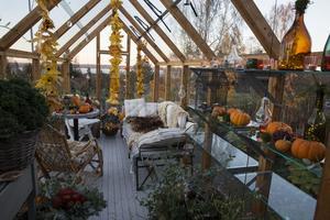 Maxat mys gäller i växthuset i Tällberg till Allhellgona. Filtar, ljus, pumpor och lövgirlanger skapar stämning.