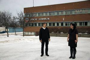 Kommunalrådet Sven Åke Draxten och oppositionsrådet Veronica Eklund