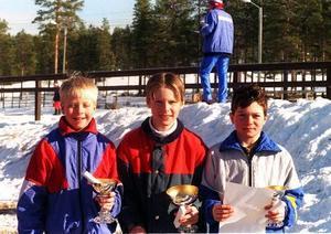 Lars Nelson, Funäsdalen, Erik Halvarsson Funäsdalen och Tobias Myhr Bruksvallarna radar upp sig efter Svegsskidan 1997.