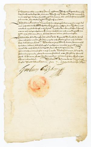 Att det är Gustav II Adolfs originalkoncept råder inget tvivel om, det är hans namnteckning och dessutom är de orangea märkena tydliga spår av ett sigill.