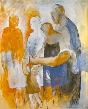 Sorgens kramkalas. Maria Berglins nya utställning på Galleri K visar vänner och familjemedlemmar som håller om varandra.