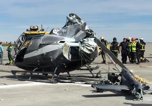 En helikopter kraschade när den gick in för landning.