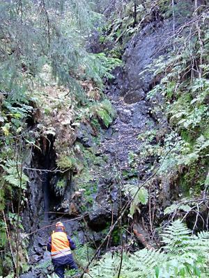 Ett gammalt gruvhål vid Mjällån undersöks av länsstyrelsens miljöinventerare. Gamla gruvor kan bland annat läcka tungmetaller.
