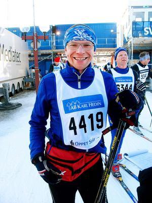– Mitt första lopp mellan Sälen och Mora, sa Per Kreij, östgöte som acklimatiserat sig i Sandviken.Men om det blir fler niomilslopp ville han inte utlova.