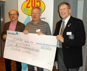 Lions Club Åsarnas överlämnande av en check på 100 000 kr. På bilden från vänster: professor Roger Henriksson, Staffan Brandelius, LC Åsarna,och Martin Enqvist, som sitter med i styrelsen för fonden.