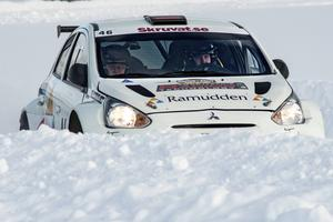 En bild från en av de sista sträckorna i Östersund Winter Rally.