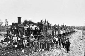 Så här såg det ut när rallarna byggde Inlandsbanan mellan Östersund och Ulriksfors för 100 år sedan.