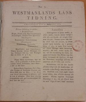 Det allra första nummret av VLT från den 10 februari 1831.