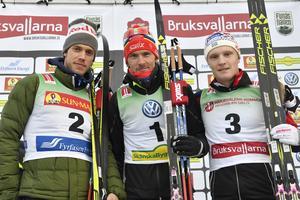 Podie i Bruksvalsloppet med Marcus Helner, Johan Olsson och Jens Burman.