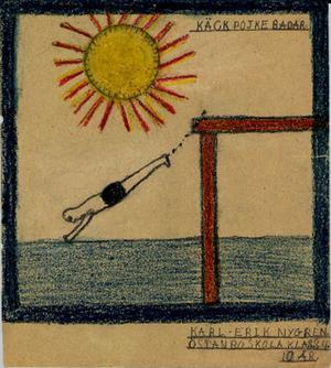 Teckningen ingår i Karl-Erik Nygrens samling skolbilder från Östanbo skola som omfattar åren 1932-1934.