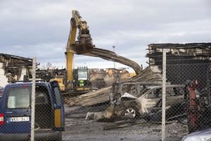 Så här såg det ut på brandplatsen på onsdagen.