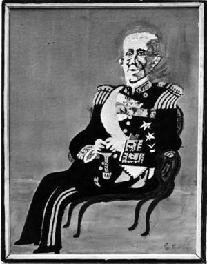 HOVLEVERANTÖR. 1933 målade Carl Johan Carlsson ett porträtt av kung Gustav V som han skickade till hovet. Därmed betraktade han sig som