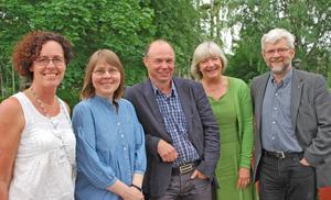 Rotarianer i Leksand Anki Gullback (president), Margareta Troive Hallström, Tomas Berggren, Hélène Carlsson Jönses och Bengt Hallström.