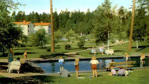Dammen i Bäckens park var en omtyckt plats att träffas på för hemmafruar och barn i mitten av förra seklet. På 60-talet sprudlade Kolarbyn av liv.