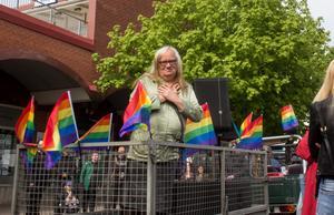 Maria Hansson är ordförande i RFSL Hälsingland och arbetar aktivt för HBTQ-rörelsen.