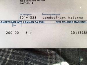 Fakturan som Sara fick från Landstinget Dalarna för sjukhusvistelsen i Mora.