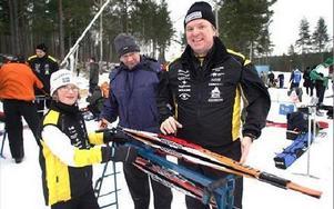 Tre generationer skidåkare, Emil Lundmark, Ove Lundmark och Per Lundmark.Foto: BERIT DJUSE