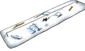 Vid Frösöbrons fäste byggs en snökabelparkdär en lina drar fram skidåkare över diverse hopp.