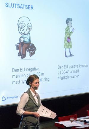Jamtlis forskningschef Anna Hansen presenterade den opinionsundersökning man låtit göra om jämtarnas inställning till EU.