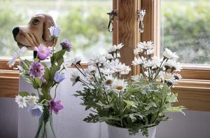 Blomster i föntret, samt ett hundhuvud.