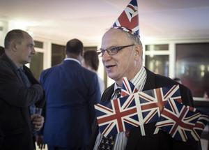 The English Bloke... en glad lämna supporter i centrala London. Lämnasidans starkaste stöd kom från äldre (män) engelsmän.