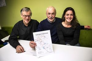 Tommy Dickens, Leif Dahlberg och Jennie Magnusson vill att fler Örnsköldsviksbor ska söka sig ut i Rutbergsterrängen.