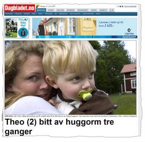 Norska Dagbladet har skrivit om Theos ormbett.