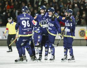 Tellusjubel efter Jonas Granbergs (nummer 59) kvittering till 1–1. Glädjen blev dock kortvarig, då Hammarby gick och ifrån och vann med 3–1.