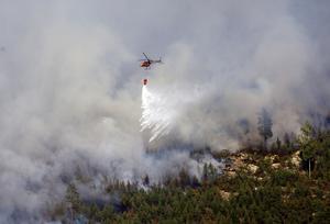 Helikopter bekämpar elden under skogsbranden 2014.