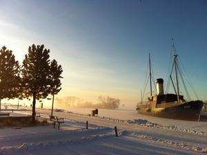 Bilden togs en morgon i förra veckan då jag var på väg till jobbet. Jag brukar inte fotografera, men dimman och det bleka ljuset som speglar sig mot fartyget fick mig att stanna och ta en bild.