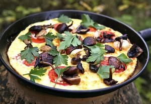 Svamphantering på italienska kan sluta med en frittata toppad med smörstekta svampar och schalottenlökar.