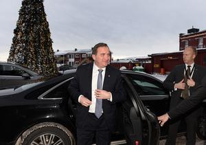 Statsminister Stefan Löfven anländer till Folk och Försvars rikskonferens i Sälen försenad.