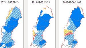 Trafikverket varnar för allmän frosthalka (klarblå fält) i Västmanland och stora delar av Sverige under måndagen. Även efter klockan 21 kan lokal frosthalka (streckade blå fält) råda i länet.