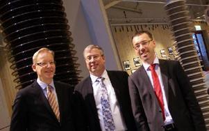 Att ABB bygger HVDC-fabrik i Ludvika för framtiden presenterades av, från vänster, platschef Johan Söderström, fastighets-vd Lars Åkerstedt och enhetschef för HVDC Per Eckemark.FOTO BOO ERICSSON