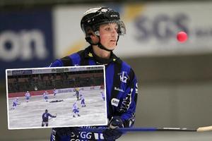 Oscar Rönnqvist fick en otäck smäll på söndagen och det är oklart hur länge han blir borta. Foto: Andreas Tagg / Bandyplay.se