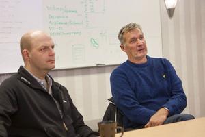 Färilaföretagen Exte och Mittx, här representerade av Magnus Johansen respektive Leif Ångman, känner trygghet i utbytet på personalsidan.