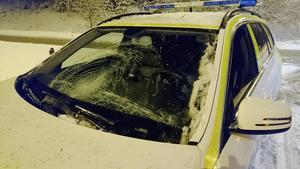 En polispatrull körde av vägen på väg till skjutningen.
