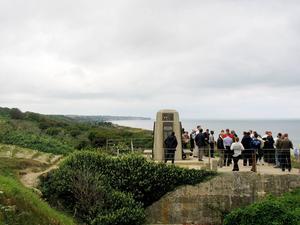 Omaha Beach, där det 1944 landsteg runt 34 000 amerikanska, kanadensiska och brittiska trupper, var Sonny Fredrikssons slutdestination under resan.