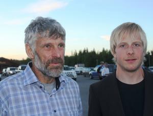 Thomas Wassberg hade varit på TV-inspelning i Finland tillsammans med Juha Mieto men anslöt på kvällskvisten. Här tillsammans med nya stjärnan Lars Nelson.