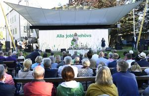 Centerns partiledare Annie Lööf håller sitt tal i Almedalen på måndagen.