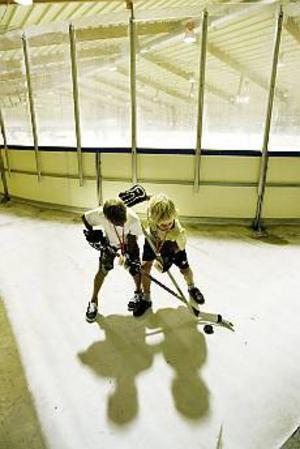 Foto: LASSE HALVARSSON I väntan på istid. David Johansson och Johan Nilsson håller tillgodo med den lilla isplätten utanför rinken.