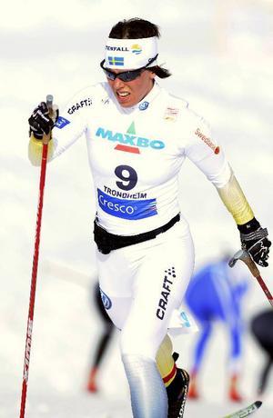 Charlotte Kalla körde sin första tremil i årets världscup och slutade elva.Foto: Scanpix